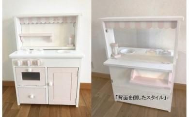 F-2 メーベルヒナナ木製ままごとキッチンオープンカフェ ピンクタイプ