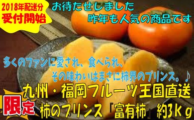 A267.九州・福岡フルーツ王国より直送.柿のプリンス『富有柿』約3kg/2018年11月~12月配送