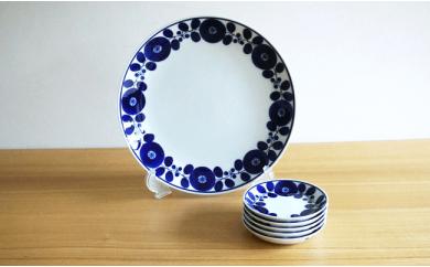 TA21 【BLOOM】白磁に映える瑠璃色が鮮やかな6ピースセット【白山陶器】