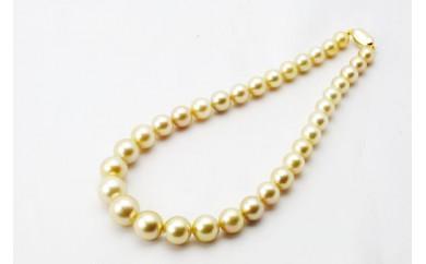 HS08 白蝶真珠(ゴールド系、10-14ミリ珠)ネックレス  【5,400pt】