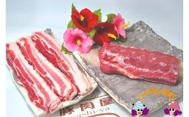 13 ~真面目に島育ち~徳之島の島豚セットD(3枚肉スライスと島豚ロース)