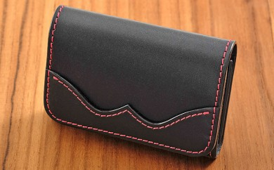 [№5641-0437]牛革ビジネスカードケース(名刺入れ)ブラック
