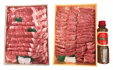 [№5751-0151]兵庫県産 黒毛和牛 すき焼き肉(1100g)と焼肉(1400g)のセット
