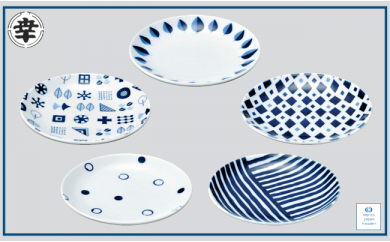 KB02 【波佐見焼】marco  15センチ皿5点セット(化粧箱入り)【奥川陶器】