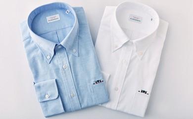 [№5636-0265]くまモンHITOYOSHIシャツ2枚セット(白・青)紳士用
