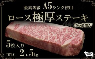 E064 A5ランク ロース極厚ステーキ2.5㎏