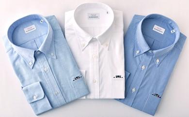 くまモン 紳士用 青チェック3枚セット HITOYOSHIシャツ
