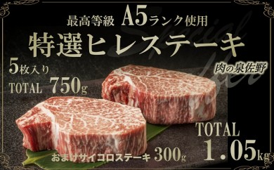 D064 A5ランク 特選ヒレステーキ750g サイコロステーキ300g付
