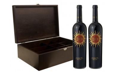 [№5691-0472]木工ワインBOX with LUCE(イタリアワイン)2本