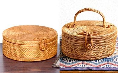 バリ島発アタ製品 リボン付き丸型バスケット2種セット