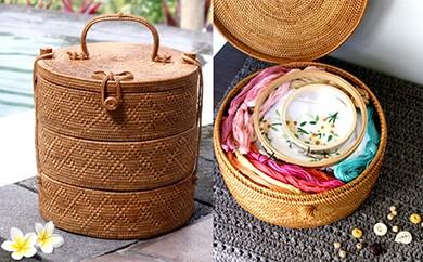バリ島発アタ製品 リボン付き3段重バスケット