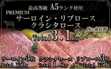 E066 A5ランク PREMIUMサーロイン・リブロース・クラシタロース3.1㎏