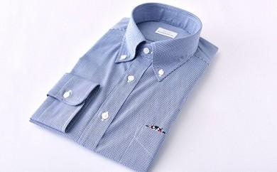 [№5636-0264]くまモンHITOYOSHIシャツRe(紺チェック) 紳士用