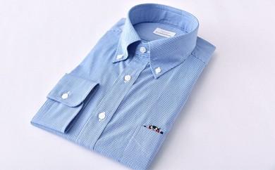 くまモン 紳士用 青チェック HITOYOSHIシャツ