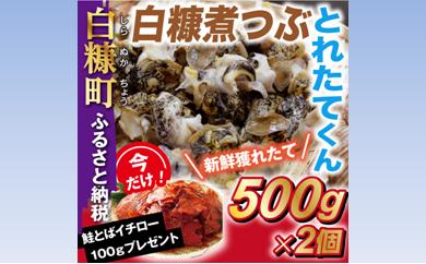 [№5723-0138]白糠煮つぶ とれたてくん【500g×2個】 今なら「鮭とばイチロー100g」プレゼント