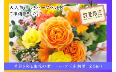 【I-268】季節を彩る生花の便り (定期お届けハーフセット)