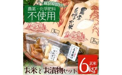 y063 お米(玄米)とお漬物セット【雲月農園】