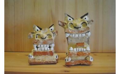 【ぎゃらりーゆしびん】赤瓦で作った表情豊かな漆喰シーサー(小)