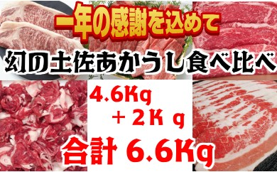 【四国一小さな町の感謝品】土佐あかうし食べ比べセット6.6Kg