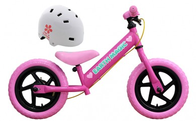 [№5849-0081]《12月末受付終了》アースマジックのキックバイクピンクカラー1台とヘルメット1つのセット