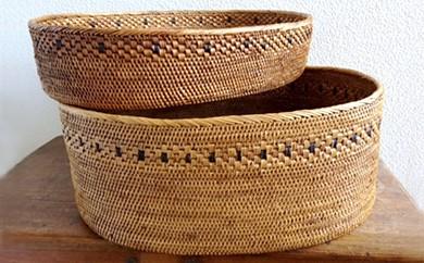 バリ島発アタ製品 楕円バスケット2種セット(花模様)