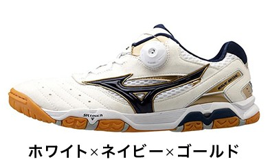【Z-147】ミズノ製卓球シューズ ウエーブメダルSP3(ホワイト×ネイビー×ゴールド)