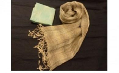 D【425-906】 手織り麻ストールと麻ハンカチーフのセット