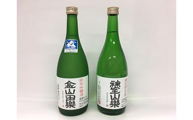3.純米吟醸酒「金山田楽」&純米酒「神室山楽」セット(各720ml)