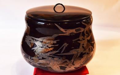 [№5759-0169]黒淡金銀彩水指(大・置水指)(ガラス製の茶道具)