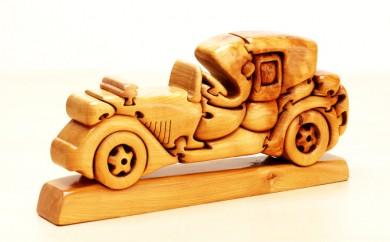 [№5708-0363]木製インテリア カバのコブの組木「車」