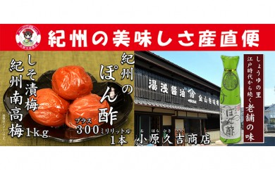 [№5745-0751]南高梅しそ漬梅干1kgとぽん酢1本