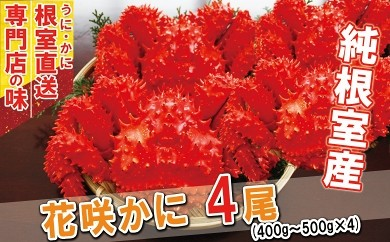 CA-31009 【北海道根室産】ボイル花咲ガニ400~500g×4尾[363936]