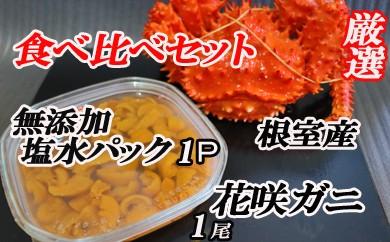 CB-16006 エゾバフンウニ塩水パック100g×1P、根室産花咲ガニ450~550g前後×1尾[412619]