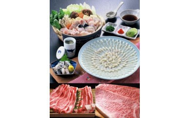 30A-002 とらふぐ刺身(3~4人前)&阿知須牛サーロインステーキ・肩ロースうす切りすき焼き用600g