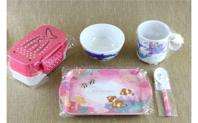 沖縄美ら海水族館オリジナルグッズ(ピンク)(ランチボックス&メラミングッズ5点セット)
