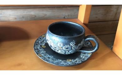 武雄焼(陶器)カップ&ソーサーセット 黒花三島 W002