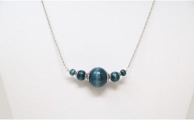050-002 藍玉ネックレス(天然木)5個玉 チェーン