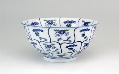 A45-19 源右衛門窯 染錦なずな紋 麺鉢