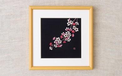 I17 天然藍染額絵(20cm×20cm)【サクラ柄】