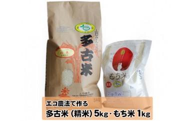 No.048 エコ農法で作る 多古米こしひかり5kgともち米1kgのセット