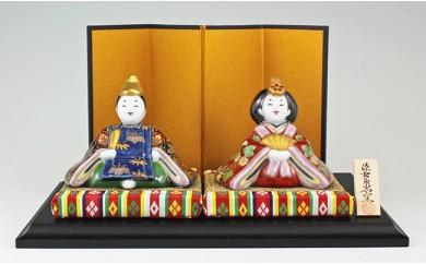A300-27 源右衛門窯 染錦座り雛(菊)置物