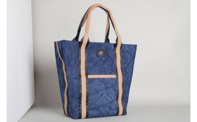 BB06 自動車のエアバッグが素材の耐久性に優れた男女兼用トートバッグ【台形】Blue