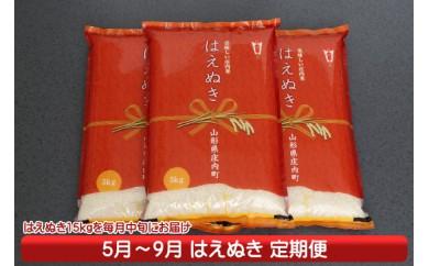 【J-792】庄内米定期便!庄内産はえぬき15kg(5月中旬より配送開始 入金期限:H30.4.25)