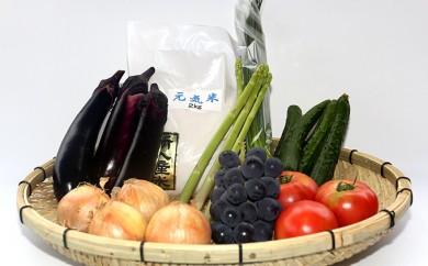 [№5653-0110]旬の農産物詰め合わせ(地元野菜・果物・米のセット)
