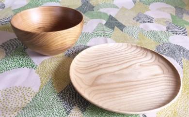 [№5749-0241]十勝の樹々のうつわ皿(18cm)ボウルセット