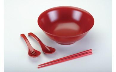 1801522 メタル丼、箸、レンゲセット(赤)