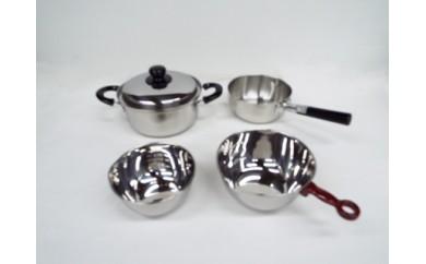 1801177 三層鋼行平鍋18cm & 三層鋼両手鍋20cm & 手付ボール18cm & ボール15cm
