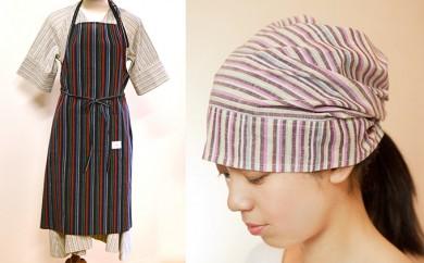 [№5786-1880]【遠州綿紬】 巻きエプロン&和帽子