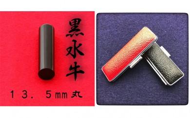 [№5786-1861]黒水牛13.5mm(7書体)牛革ケース(赤)