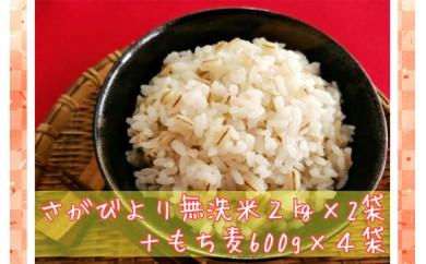 B171-O 巧味【無洗米】さがびより2kg×2袋・もち麦600g×4袋